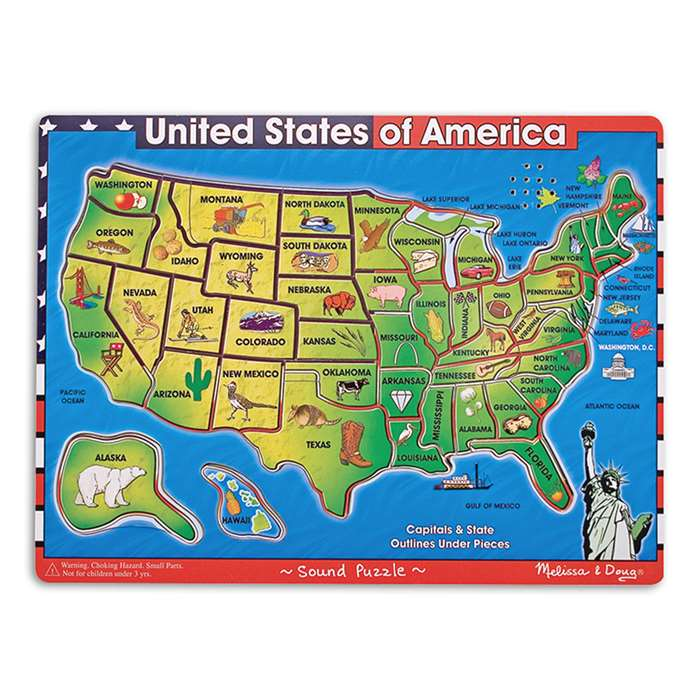 Usa Map Sound Puzzle By Melissa & Doug