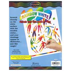 Rainbow White Scratch-Art 50 Sht Paper 8 1/2X11, LCI8016