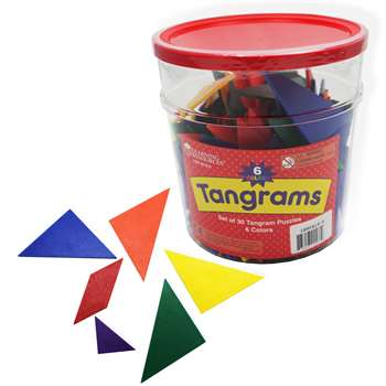 Tangrams Classpk 6 Colors 30 Tangrams In Bucket By Learning Resources