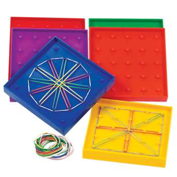 Geoboard Double-Sided Rainbow 6-Pk 5 X 5 Plastic 5 6 Colors By Learning Resources