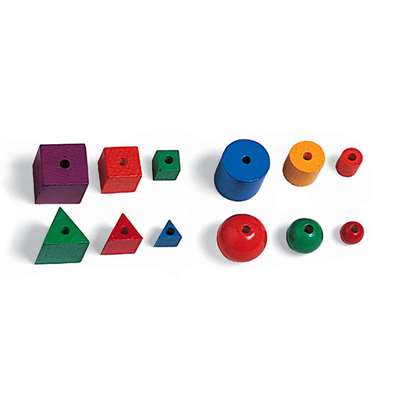 Attribute Beads 144/Pk 4 Shapes 3 Sizes By Learning Resources