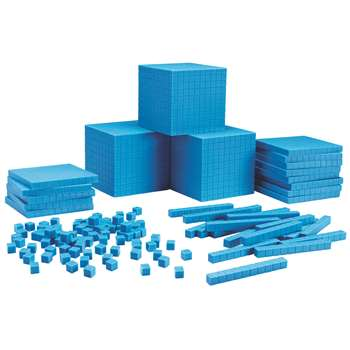 Base Ten Class Set Plastic Blue 600 Units 200 Rods 20 Flats 3 Cubes By Learning Resources