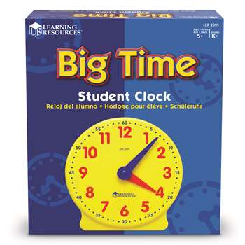 Big Time Clock Student 12 Hr 5 Diameter Plastic By Learning Resources
