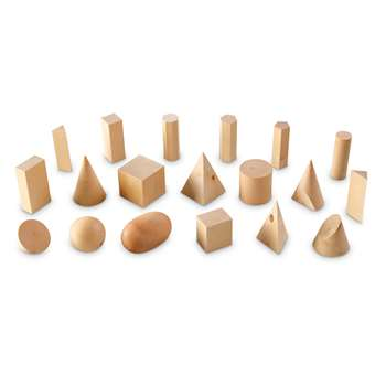 Wooden Geometric Solids Set Of 19 By Learning Resources