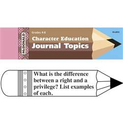 Journal Booklet Character Education Gr 4-8 By Mcdonald Publishing