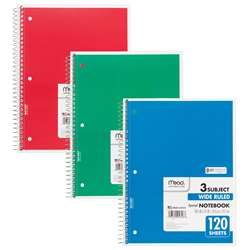 Notebook Spiral 3 Subject 120 Ct 10 1/2 X 8 By Mead Products