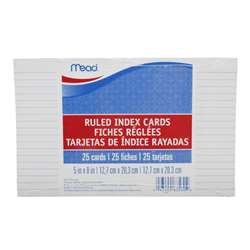 "Cards Index Ruled 5"" X 8"" 25 Ct By Mead Products"