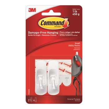 Command Adhesive Reusable Small Hooks Pack Of 2 By 3M
