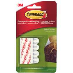 3M Command Poster Strips 12 Strips Per Pk By 3M