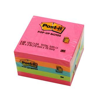 Pop-Up Notes 3X3 100Sht/Pk 5Pd/Pk Neon By 3M