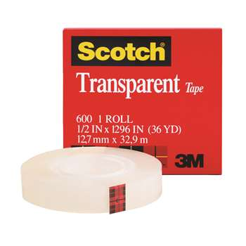 Tape Transparent Film 1/2 X 1296 By 3M