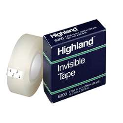"Tape Highland Invisible 3/4"" X 1296"" By 3M"