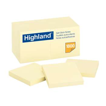 Highland Self Stick 18Pk Removable Notes 3X3 Yellow By 3M