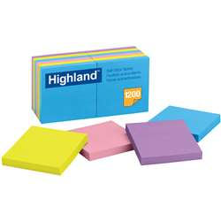 Highland Self-Stick 12 Pads 3 X 3 Removable Notes By 3M
