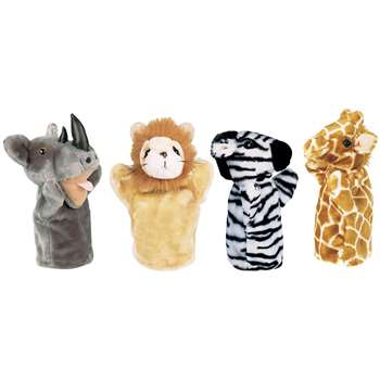 Zoo Puppet Set I Includes Rhino Zebra Giraffe & Lion By Get Ready Kids