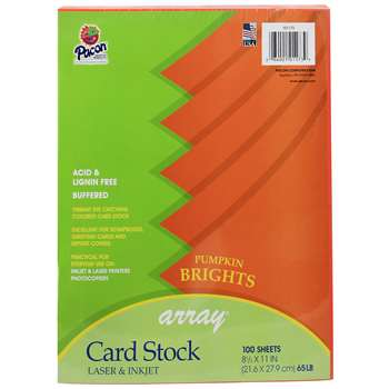 Array Card Stock Brights Pumpkin By Pacon