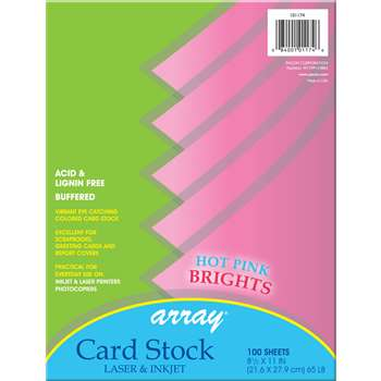 Array Card Stock Brights Hot Pink By Pacon