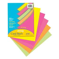 Array Card Stock Hyper 100 Sht Assortment 5 Colors 8- 1/2 X 11 By Pacon