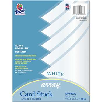 Array Card Stock White 100 Sheets By Pacon