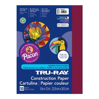 Tru-Ray Construction Paper 9 X 12 Burgundy By Pacon