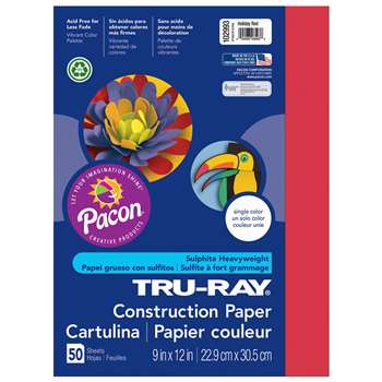 Tru-Ray Construction Paper 9 X 12 Holiday Red By Pacon