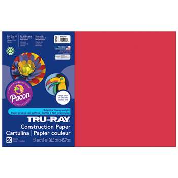 Tru-Ray Construction Paper 12 X 18 Holiday Red By Pacon