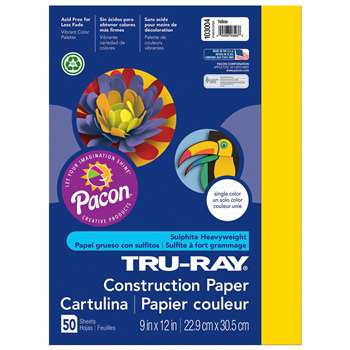 Tru-Ray Construction Paper 9 X 12 Yellow By Pacon
