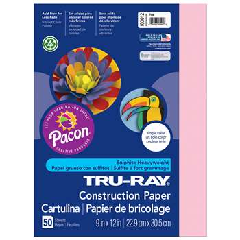 Tru-Ray Construction Paper 9 X 12 Pink By Pacon