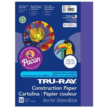 Tru-Ray Construction Paper 9 X 12 Purple 50/Pk By Pacon