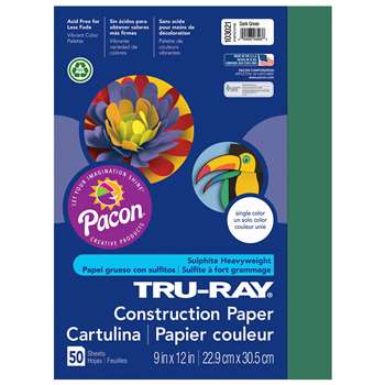 Tru-Ray Construction Paper 9 X 12 Dark Green By Pacon