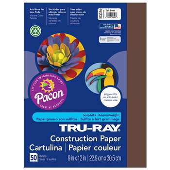 Tru-Ray Construction Paper 9 X 12 Dark Brown By Pacon