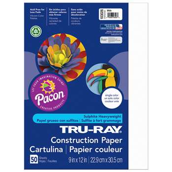 Tru-Ray Construction Paper 9 X 12 White By Pacon