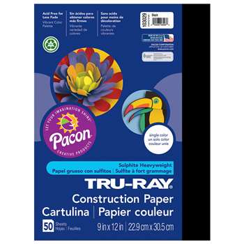 Tru-Ray Construction Paper 9 X 12 Black By Pacon