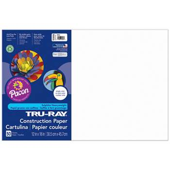 Tru-Ray Construction Paper 12 X 18 White By Pacon