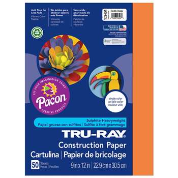 Tru Ray Electric Orange 9X12 Fade Resistant Constr, PAC103404