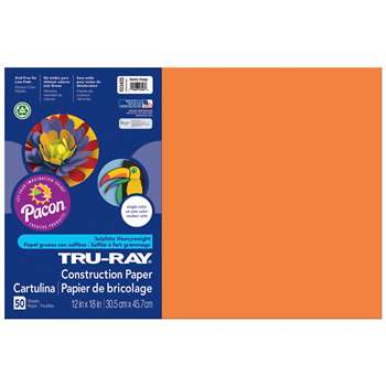 Tru Ray Electric Orange 12X18 Fade Resistant Const, PAC103405