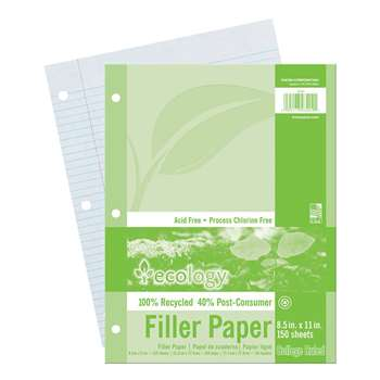 Ecology Recycled Filler Paper 150Sh 9/32In College Ruling By Pacon