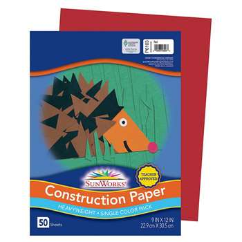 Sunworks 9X12 Red 50Shts Construction Paper By Pacon