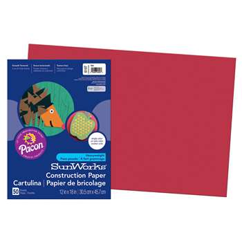 Sunworks 12X18 Red 50Shts Construction Paper By Pacon