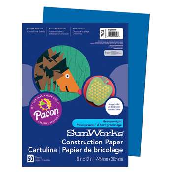 Sunworks 9X12 Bright Blue 50Shts Construction Paper By Pacon