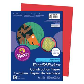 Construction Paper Holiday Red 9X12 By Pacon