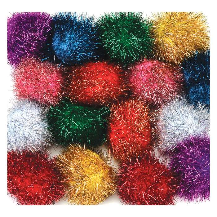 "2"" Glitter Poms Assortment 16 Pcs, PACAC85216"