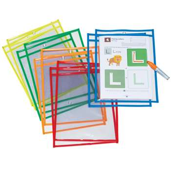 Dry Erase Pockets 10 Asst Colors St, PACAC9869