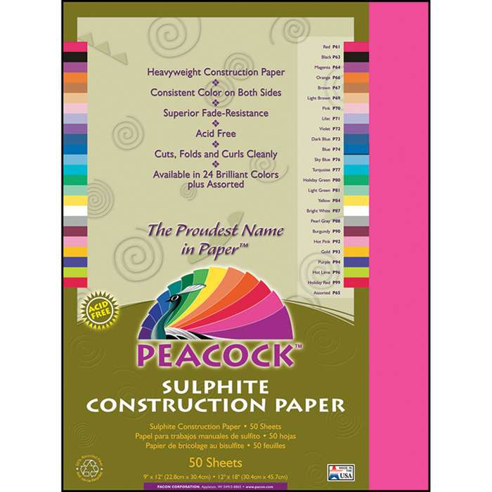 Construction Paper 9X12 Hot Pink By Pacon