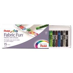 Pentel 15 Color Fabric Fun Dye Sticks Set By Pentel Of America