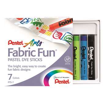 Pentel 7 Color Fabric Fun Dye Sticks Set By Pentel Of America