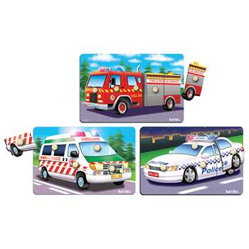 Emergency Response Vehicles 3/Set Peg Puzzles, PPAKNS004PB