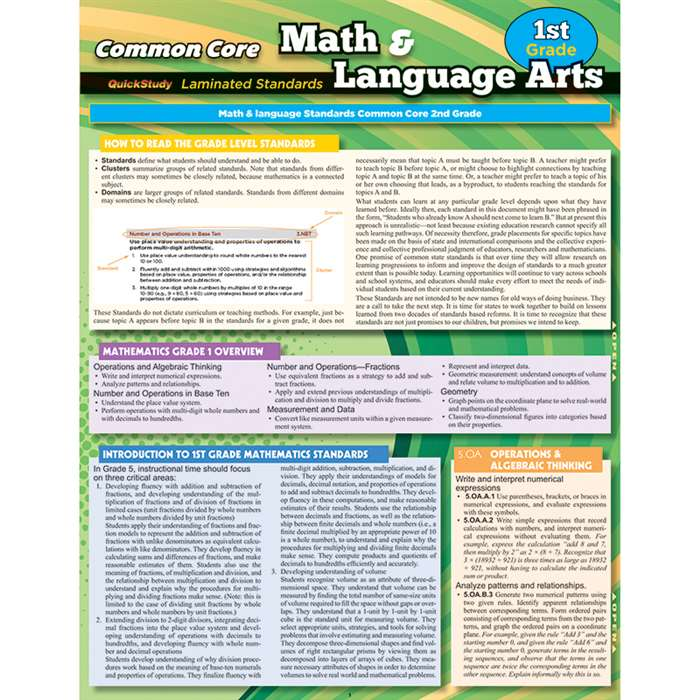 Common Core Gr 1 Math & Language Arts Standards, QS-222828