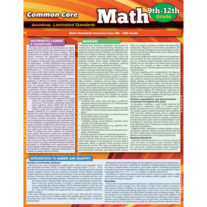 Common Core Math Gr 9-12 Standards, QS-223009