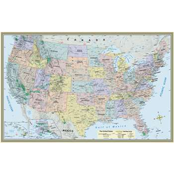 Us Map Laminated Poster 50 X 32 By Barcharts